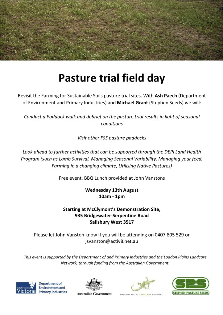 Salisbury West pasture trial debriefing field day flyer