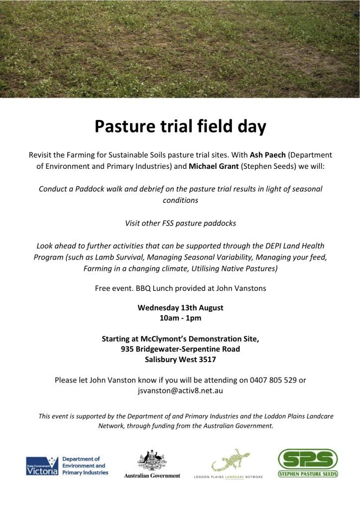 Salisbury West pasture trial debriefing field day flyer