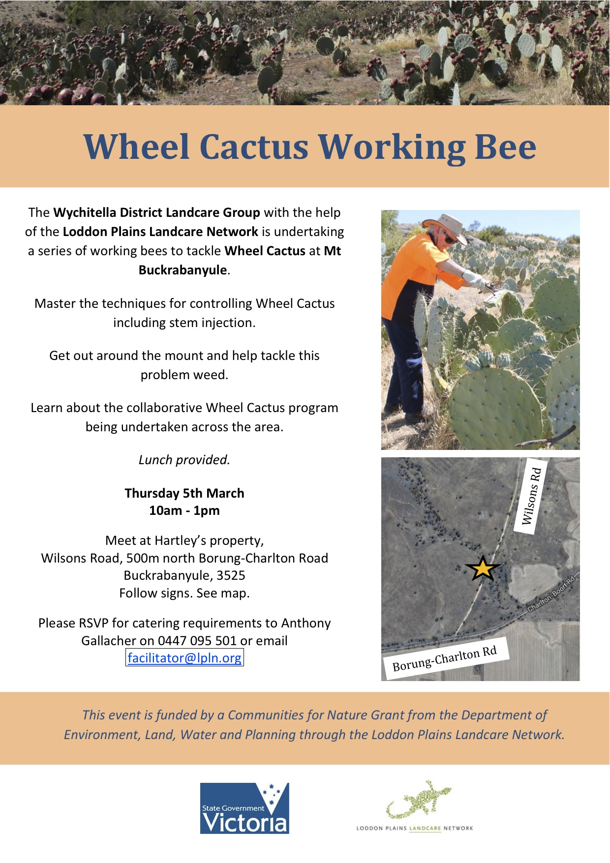 Buckra Wheel Cactus working bee flyer March 2015