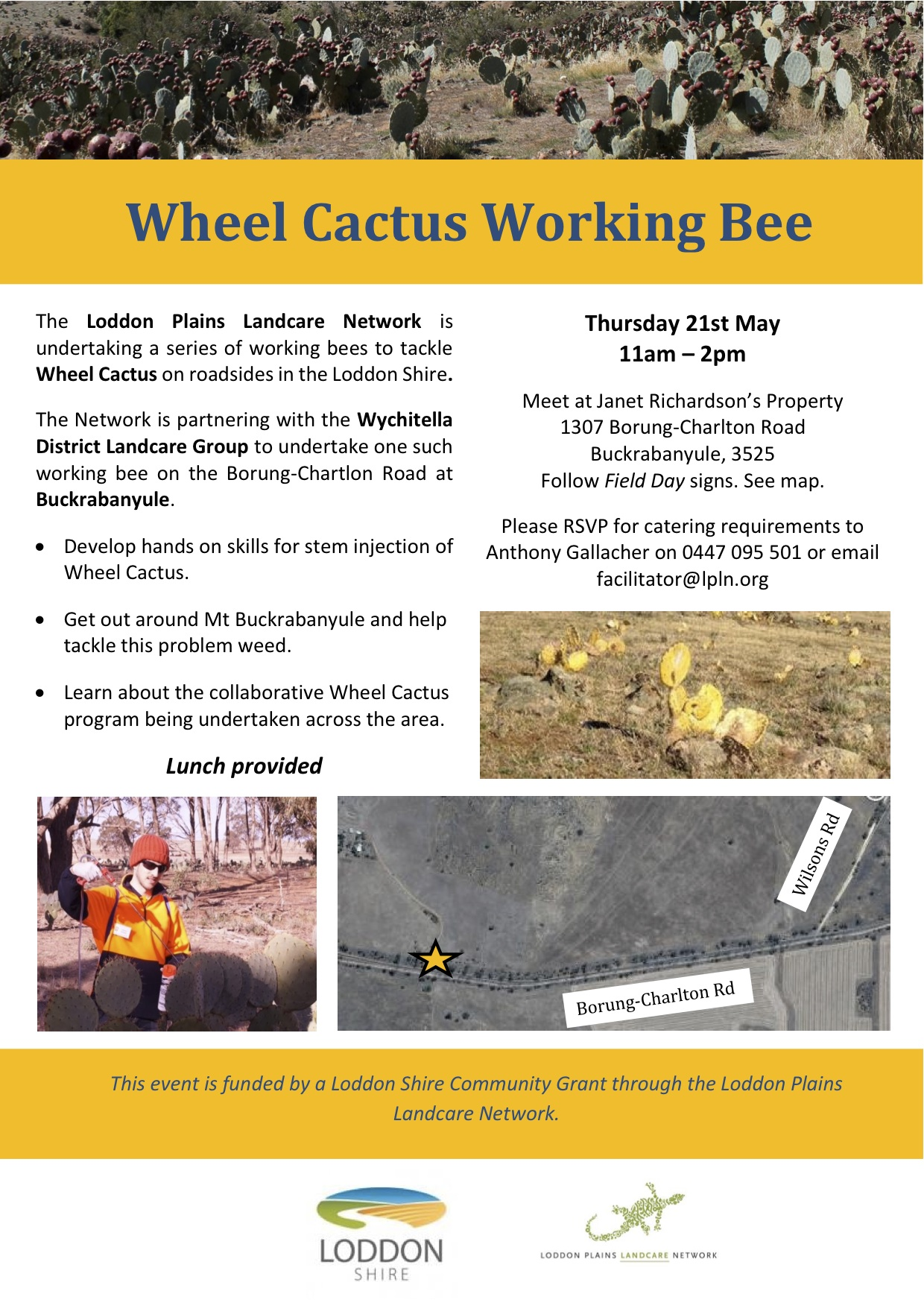 Wheel Cactus roadside working bee flyer May 2015