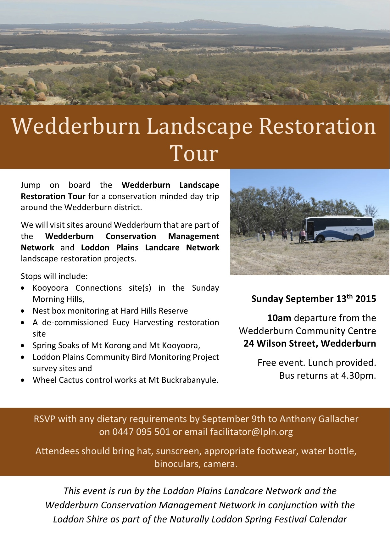 Wedderburn Landscape Restoration Tour flyer