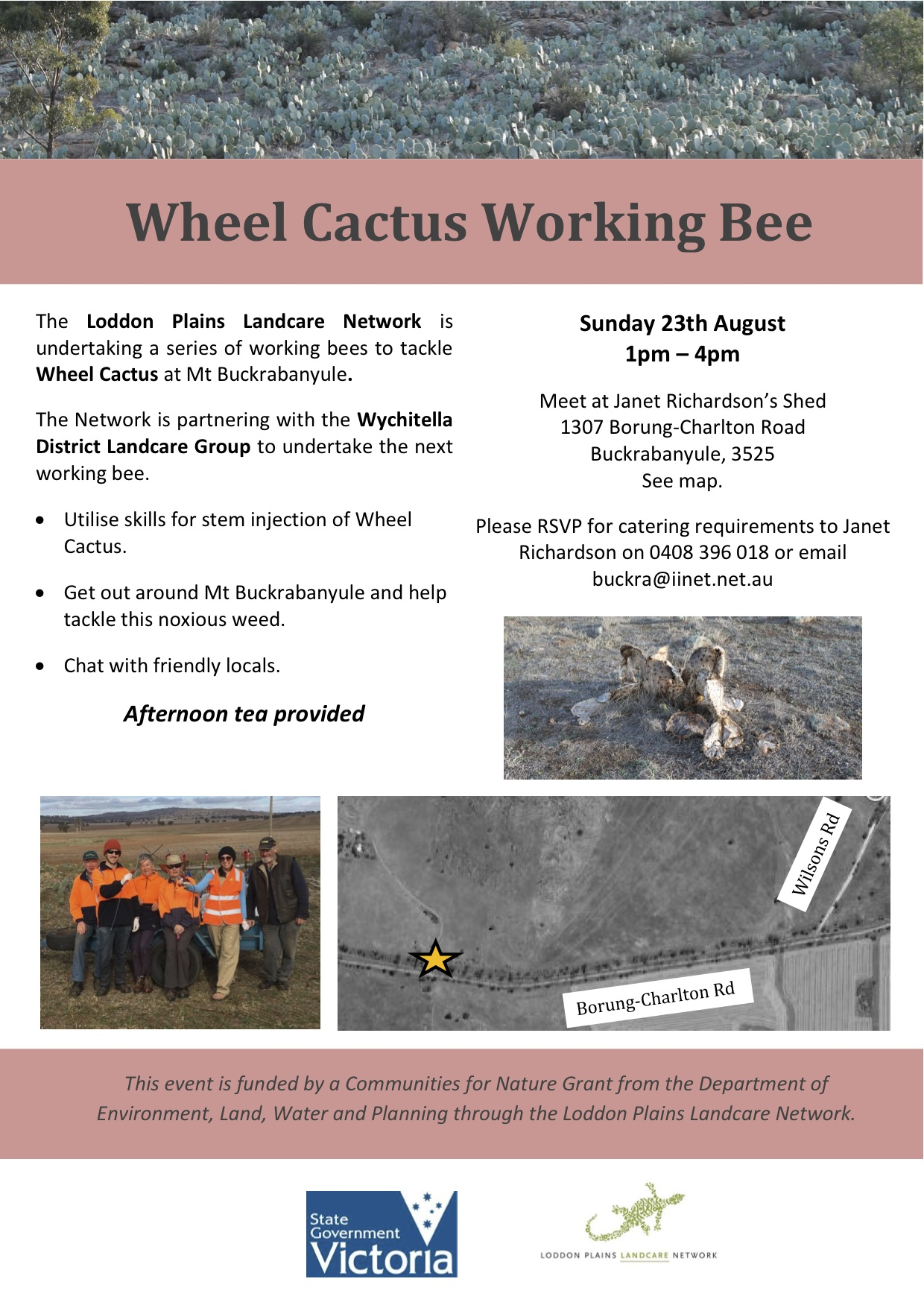 Wheel Cactus working bee flyer August 2015
