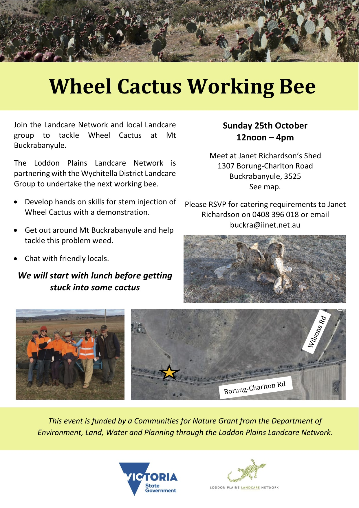 Wheel Cactus working bee flyer October 2015
