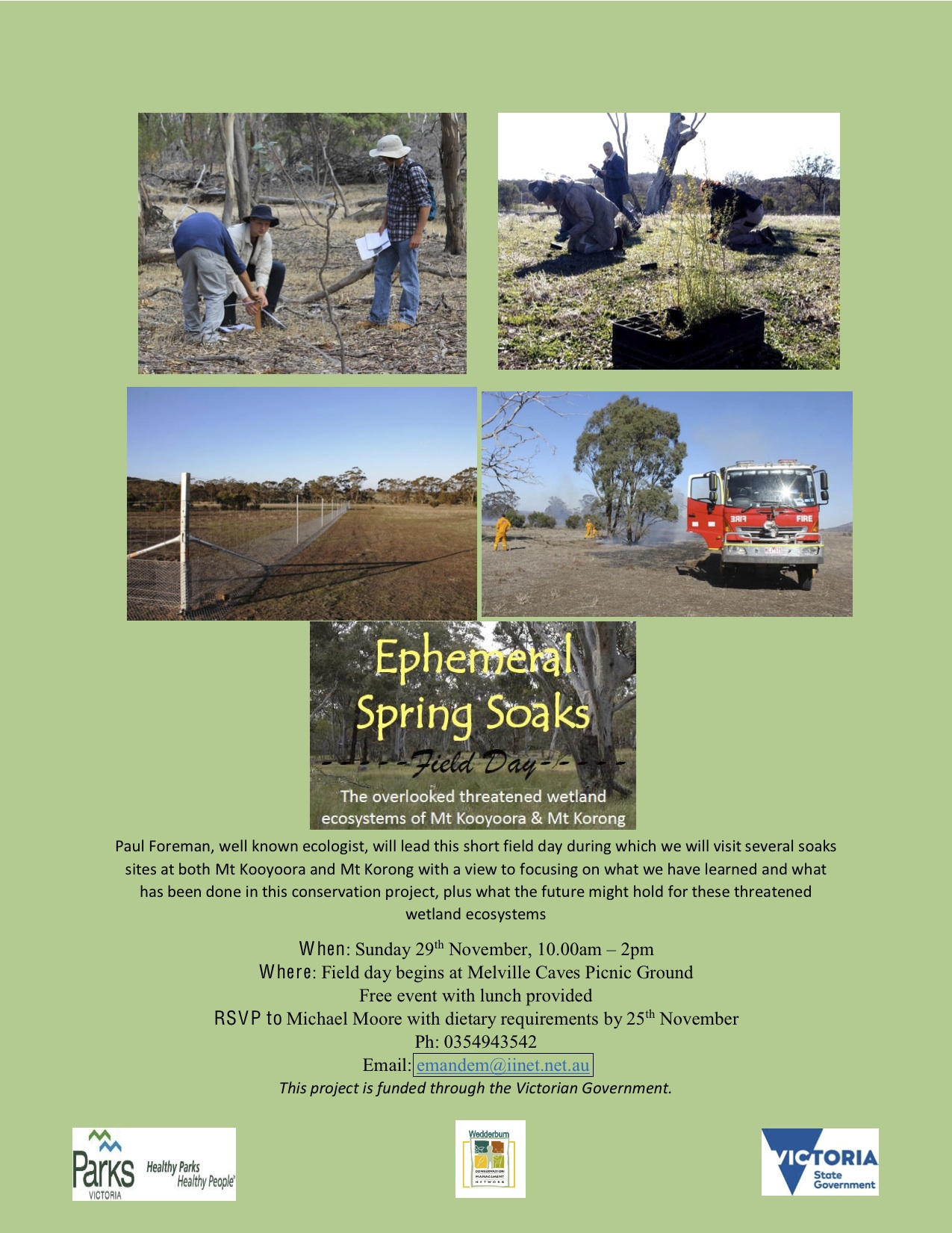 Flier for Ephemeral Soaks Field Day